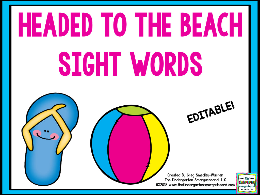 Headed to the Beach Editable Sight Words