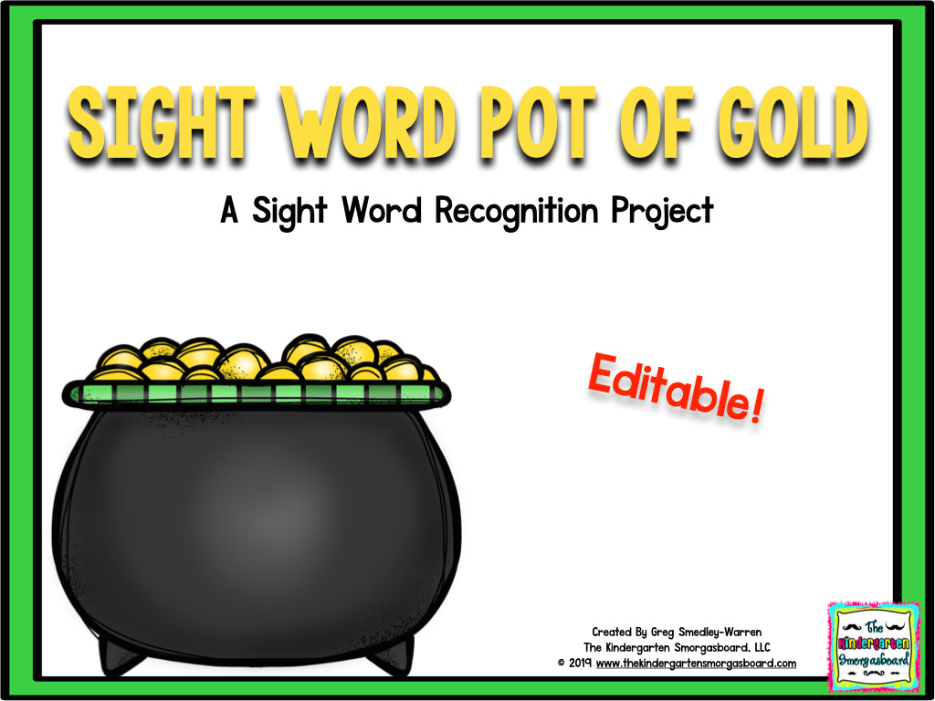 St. Patrick's Day Editable Sight Words Project