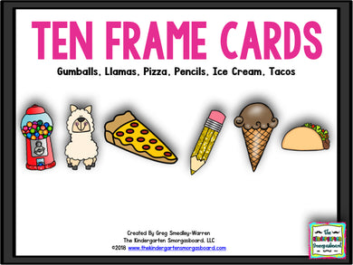 Ten Frame Cards: Pizza, Pencils, Llamas, and More!