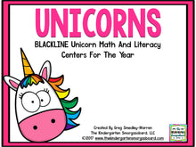 Unicorn Blackline Math and Literacy Centers for the Whole Year!