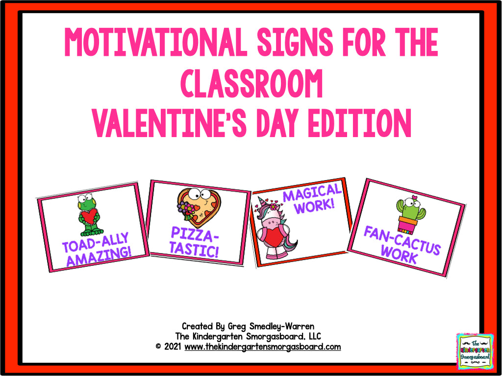 Motivational Signs Valentine's Day Theme