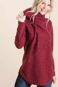 Get Up And Go Cowl Neck Top {Burgundy}