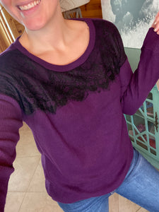 Lacey Days Ribbed Top {Eggplant}