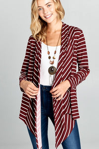 Chase Striped Waterfall Cardigan {Burgundy} CLEARANCE