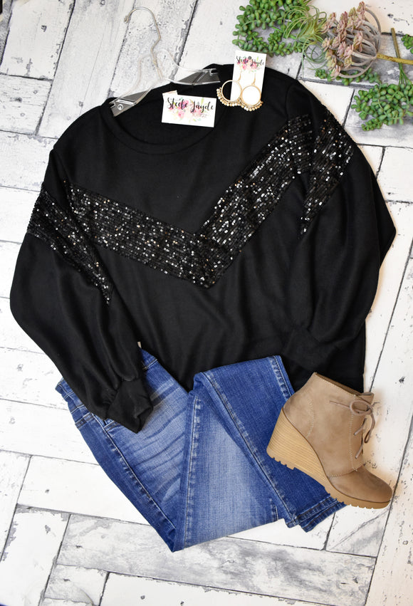 Emilie Sequin Detail Top {Black}
