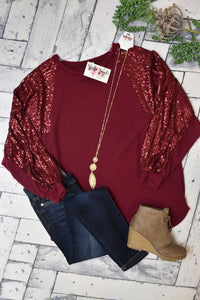 Shimmer And Shine Sequin Tunic {Burgundy}