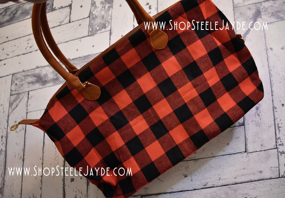 Oversized Plaid Weekender Bag {Red & Black}