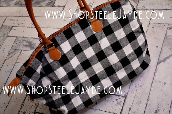 Oversized Plaid Weekender Bag {White & Black}