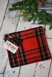 Tartan Cross Body Clutch With Tassel {Red}