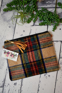 Tartan Cross Body Clutch With Tassel {Beige}
