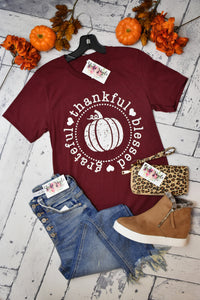 Grateful Thankful Blessed Tee {Maroon}