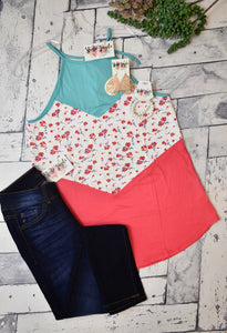 Sleeveless Floral Colorblock Top {Aqua}