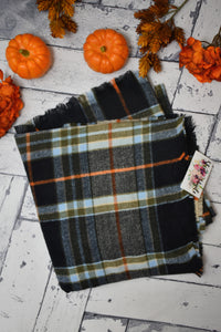 Tartan Plaid Blanket Scarf {Black/Green}