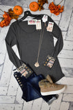 Cuff Detail Thermal Top {Charcoal}