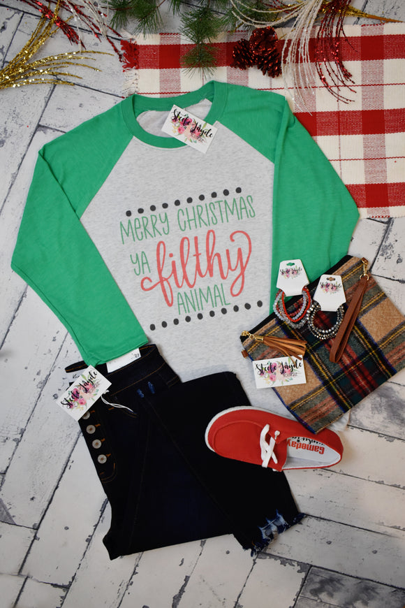 Filthy Animal Christmas Raglan {Green}