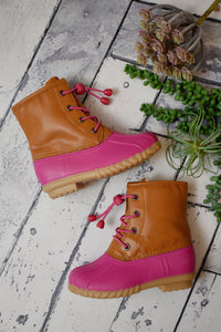 Girls Pink Two-Tone Boots