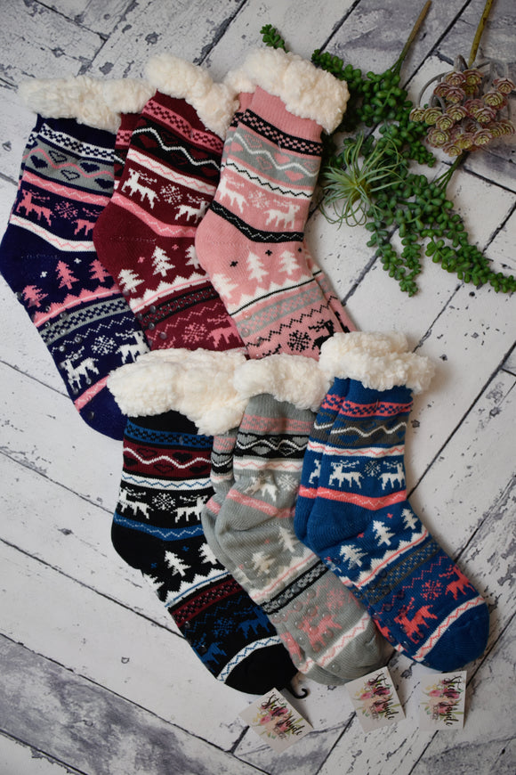 Cozy Lined Winter Scene House Socks {Multiple Colors}
