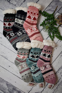 Cozy Lined Winter Joy House Socks {Multiple Colors}