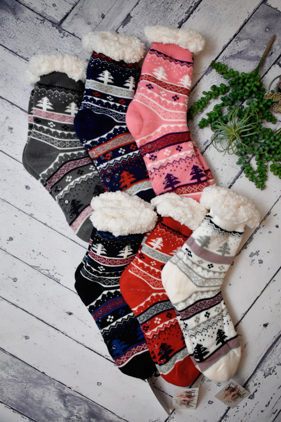 Cozy Lined Winter Wonderland House Socks {Multiple Colors}