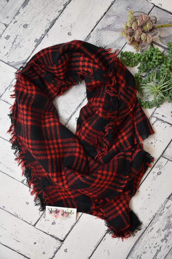 Oversized Blanket Scarf {Black/Red}