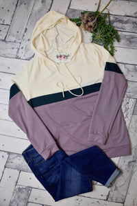 Through The Roof Colorblock Hooded Top {Green/Lilac}