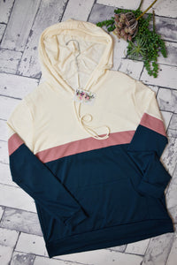 Through The Roof Colorblock Hooded Top {Mauve/Green}
