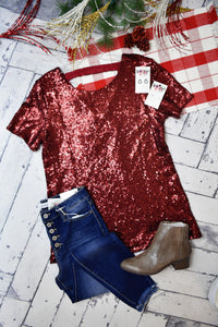 Party Time Sequin Top {Red}