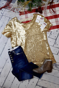 Party Time Sequin Top {Gold}