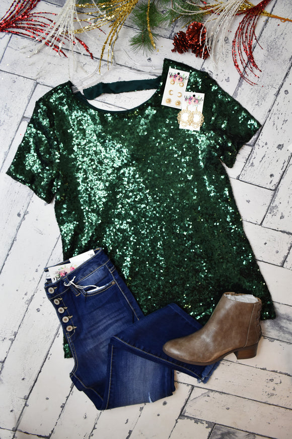 Party Time Sequin Top {Green}