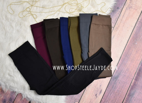 Fleece Lined Solid Leggings {Curvy Size}