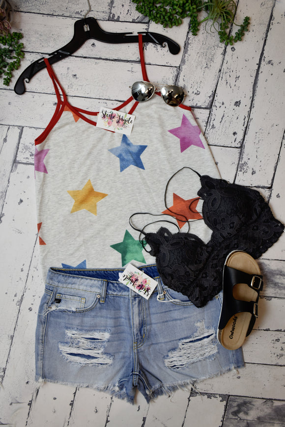 Contrast Piping Star Tank {Grey}