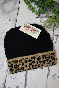 Black With Leopard Trim Beanie