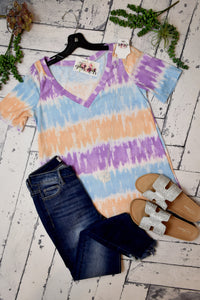 Let's Make It Easy Tie Dye Top {Orange}