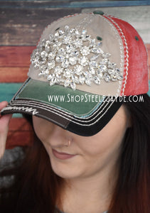 Rhinestone Baseball Cap {Red/Tan}