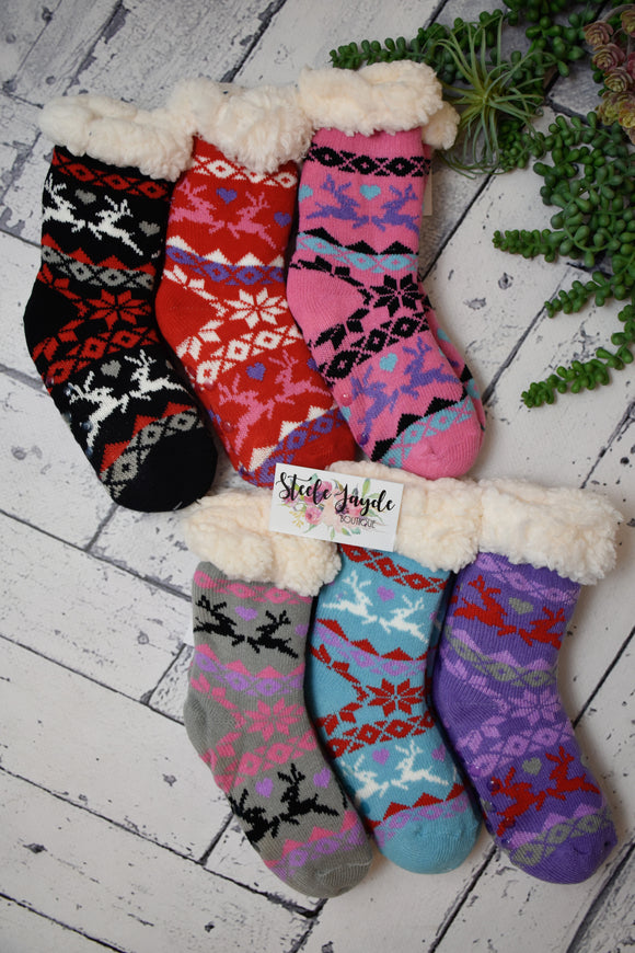 Kids Cozy Lined Winter Hearts Socks {Multiple Colors}