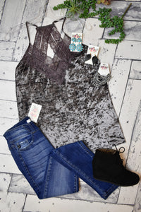 Lace Detailed Velvet Tank {Grey}