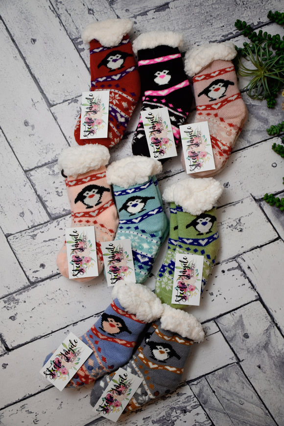 Kids Cozy Lined Winter Penguin Socks {Multiple Colors}