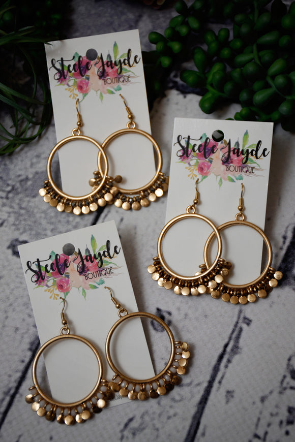 Disc Charm Hoop Earrings {Multiple Colors}