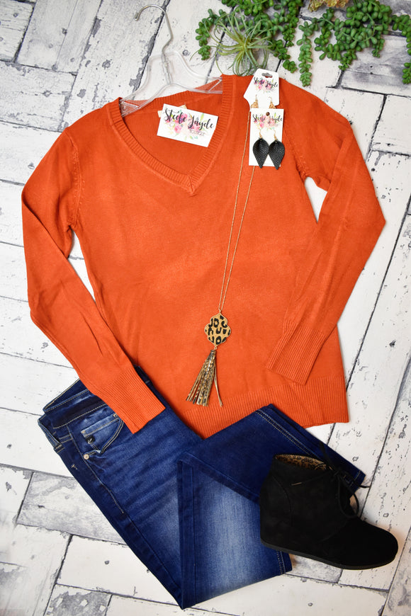 Fitted Layering V-Neck Sweater (Rust)