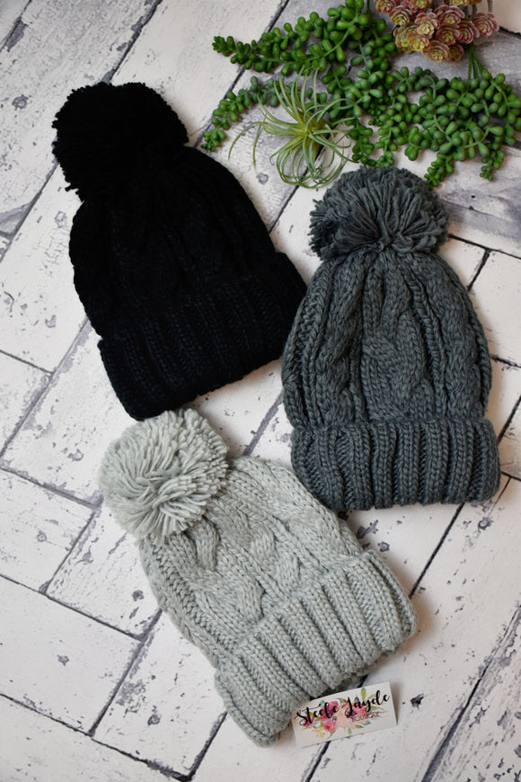 Cable Knit Pom Beanie {Multiple Colors}