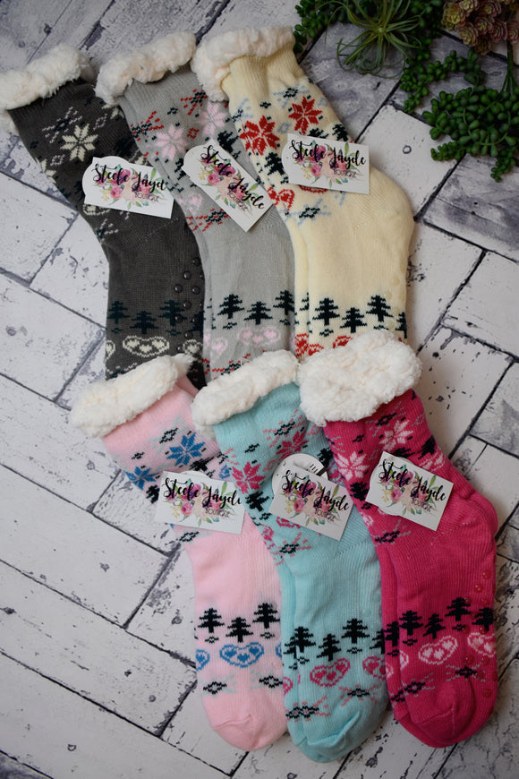 Cozy Lined Winter Hearts House Socks {Multiple Colors}