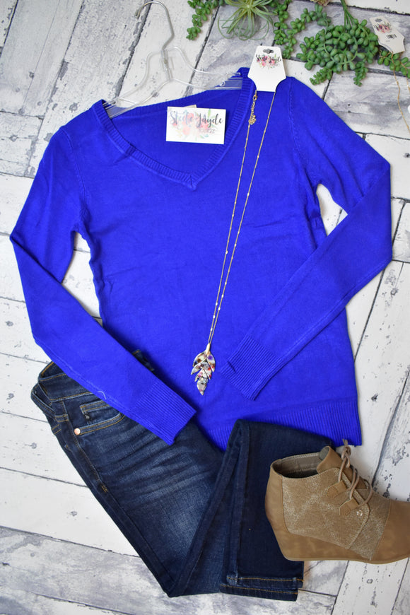 Fitted Layering V-Neck Sweater (Royal Blue)
