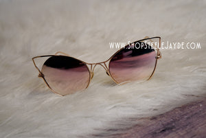 Sinful Cateye Sunglasses {Rose Gold}
