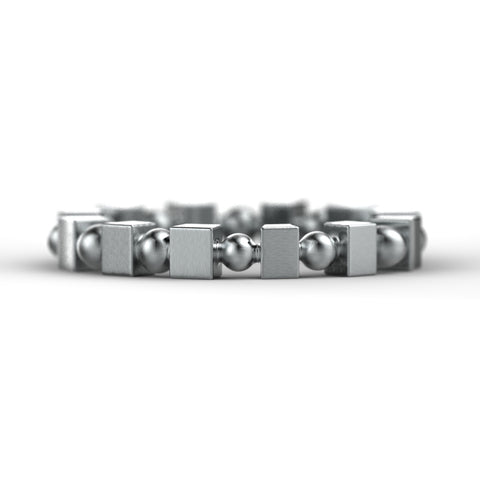 'Adams Rib' Sterling silver women's wide band stacking ring
