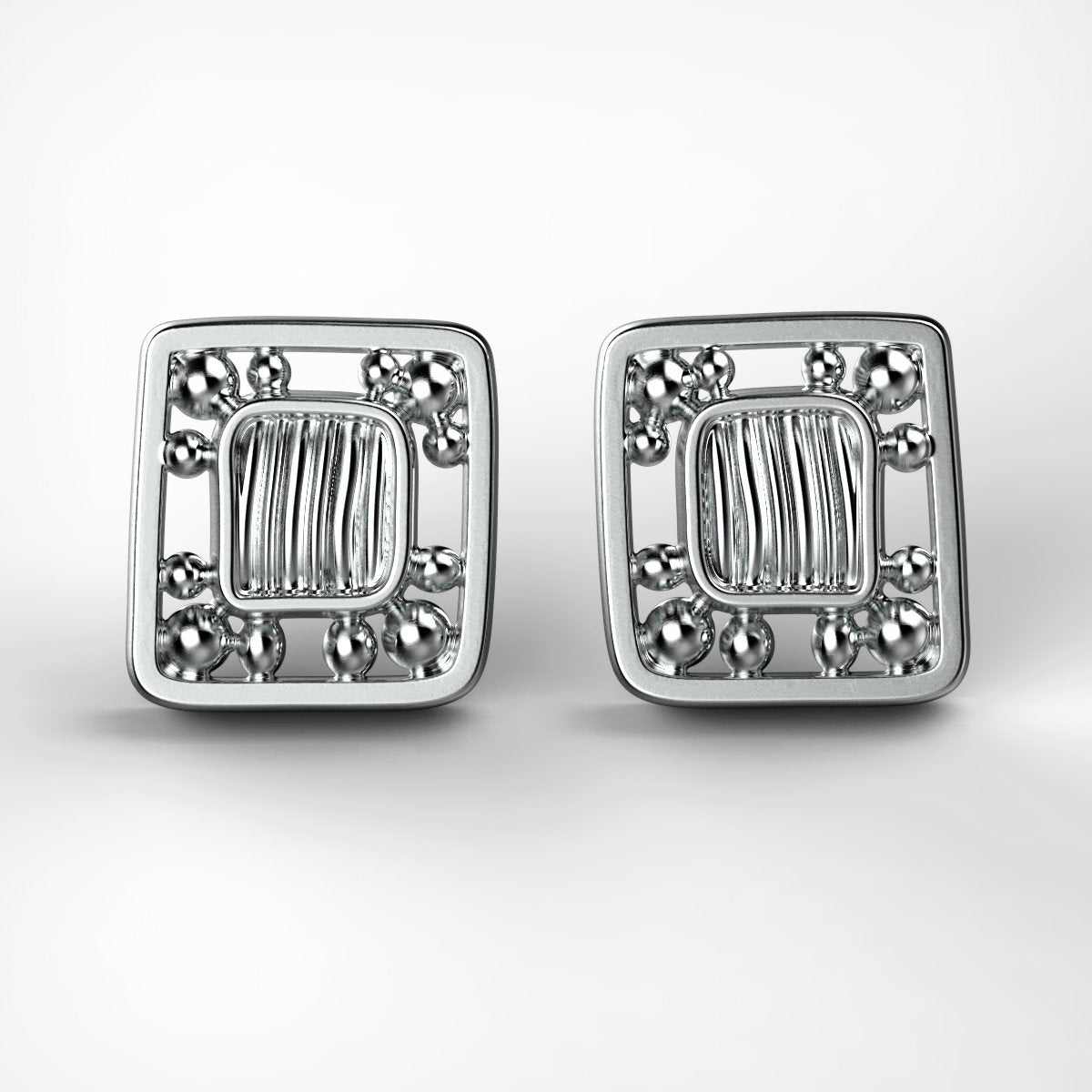 'Eve Mini framed' Sterling silver women's ear studs. - tinybird