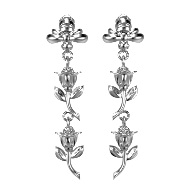 'Honey Bee'    Sterling silver Ear Droppers - tinybird