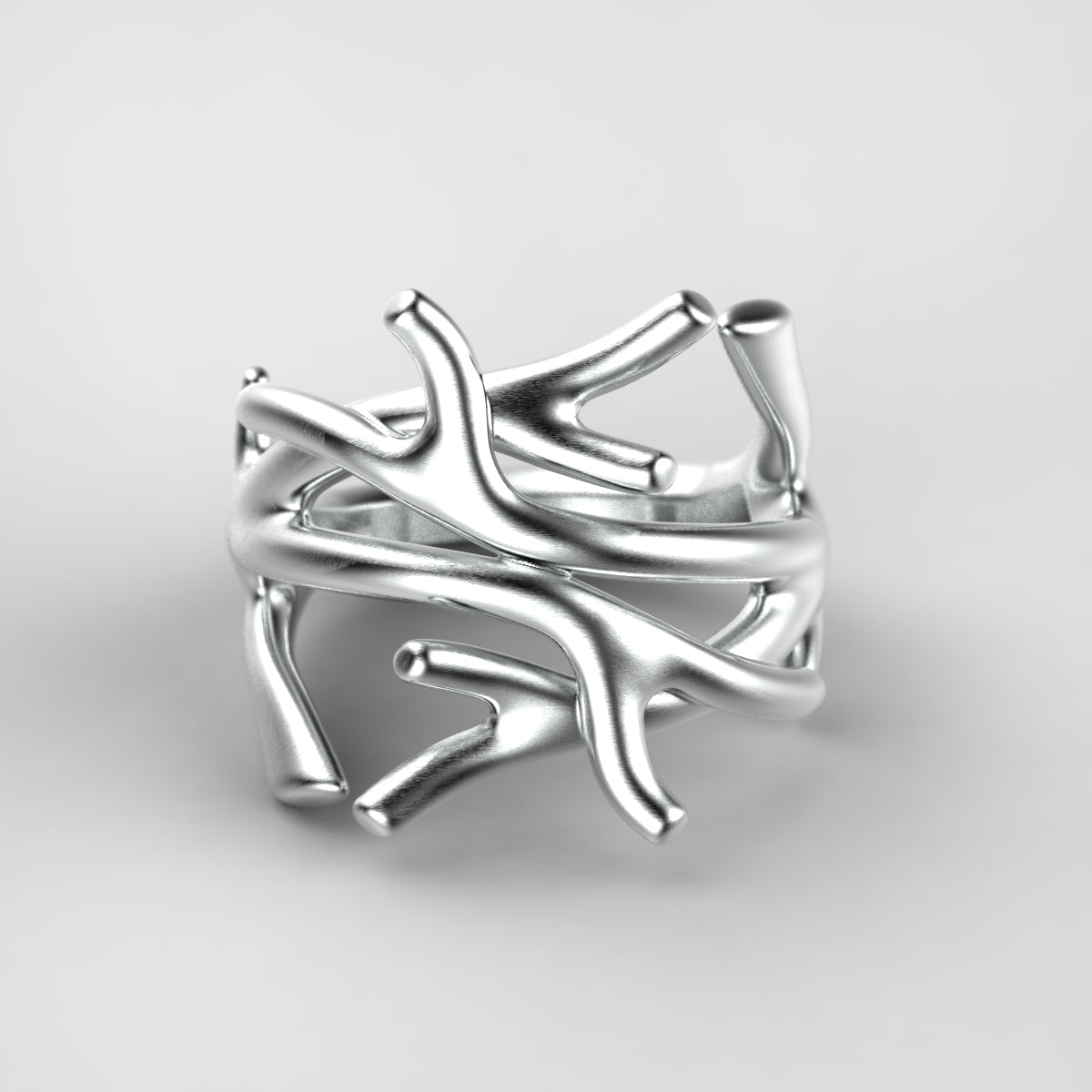 'Antler' Sterling silver women's ring - tinybird