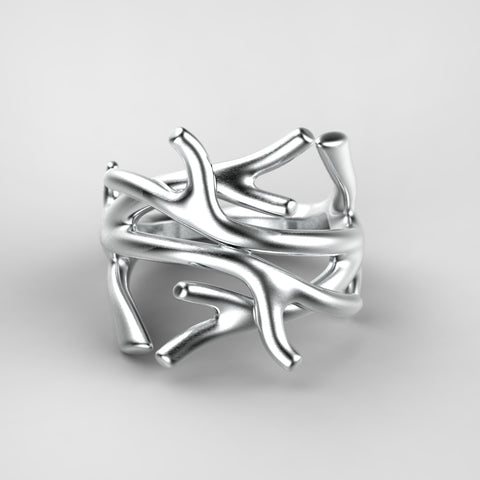 'Bloc' Sterling silver women's narrow stacking ring.