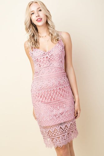Dusty Pink Lace Midi