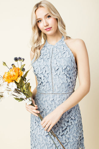 Steel Blue Lace Dress